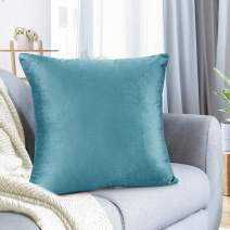 """Nestl Bedding Throw Pillow Cover 26"""" x 26"""" Soft Square Decorative Throw Pillow Covers Cozy Velvet Cushion Case for Sofa Couch Bedroom - Beach Blue"""