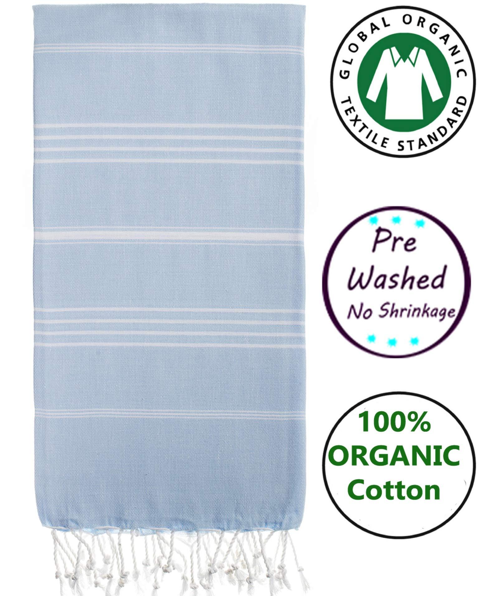 Nature Is Gift Turkish Cotton Bath Beach Spa Sauna Hammam Yoga Gym Hamam Towel Fouta Peshtemal Pestemal Blanket (Baby Blue)