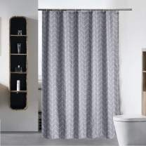 """S·Lattye Luxury Shower Curtain Liner for Bathroom Water Repellent Fabric Washable Cloth (Hotel Quality, Friendly, Heavy Weight Hem) with White Plastic Hooks - 54"""" x 78"""", Stall Gray Arrow"""