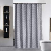 """S·Lattye Fabric Shower Curtain or Liner Water Repellent Washable Cloth (Hotel Quality, Friendly, Heavy Weight Hem) with White Plastic Hooks - 72"""" x 78"""", Long, Gray Arrow"""