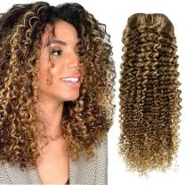Hetto Clip in Human Curly Hair Extensions #4 Brown Highlighted with #27 Blonde Clip in Extensions Full Head Remy Clip in Hair Extensions 24 Inch 7 Pieces 100 Grams