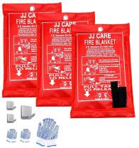 """JJ Care Fire Blanket Pack of 3 Fire Fighting Suppression Blankets Fiberglass Cloth (40""""x40"""") Flame Retardant Blanket Emergency Survival kit with 3 Hooks & Grips for Camping Kitchen & Warehouse Safety"""
