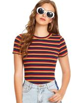 Milumia Women's Casual Multi Striped Ribbed Short Sleeve Tee Knit Top