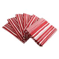 """Plush Home Set of 6 Napkins - Red Stripes, 100% Cotton of Size 20"""" X20 Inch, Eco - Friendly & Safe."""