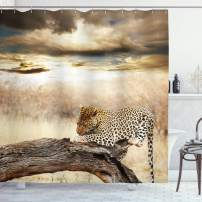 "Ambesonne Safari Shower Curtain, Leopard Resting Dramatic Cloudy Sky Safari Wild Cats Nature Picture, Cloth Fabric Bathroom Decor Set with Hooks, 84"" Long Extra, Beige Brown"