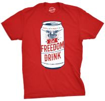 Crazy Dog T-Shirts Mens Let Freedom Drink Tshirt Funny 4th of July Beer Tee for Guys