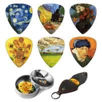 Dulphee Guitar Picks Vincent Van Gogh Picks Medium 12 Pack with Thin Box, Genuine Leather Picks Holder - Special Guitar Plectrums Gift Set for Guitarist