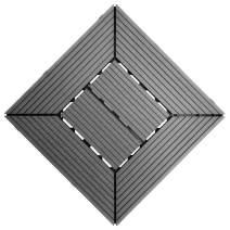 """Samincom Easy Instation Interlocking Deck Tiles for Patio Garden Terrace Bathroom Shower, Water Resistant Flooring Tiles Indoor Outdoor, 12""""× 12"""", Pack of 22 (22 sq.ft), Fret Dark Grey"""
