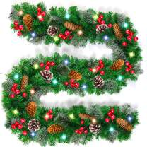 9 Foot by 10 Inch Snow Flocked Christmas Garland,【Battery Operated】Garland Decorations with 50 LED Lights 220 Pine Branch Garland Wreath Xmas Decorations for Door Stairs (18 Pine Cones & 90 Berries)