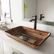 """VIGO VG07045 22.25"""" -14.5"""" W -4.5"""" H Golden Handmade Glass Rectangle Vessel Bathroom Sink in Brown and Gold Fusion Finish"""