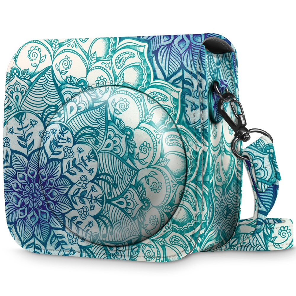 Fintie Protective Case for Fujifilm Instax Mini 8 Mini 8+ Mini 9 Instant Camera - Premium Vegan Leather Bag Cover with Removable Strap, Emerald Illusions (Official Micklyn Le Feuvre Product.)