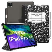 """CaseBot Case for iPad Pro 11"""" 2020/2018 with Pencil Holder [Supports 2nd Gen Pencil Charging] - SlimShell Lightweight Translucent Frosted Stand Back Cover, Auto Wake/Sleep, Composition Book Black"""