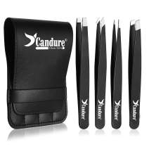 Professional Tweezers Set (4-Piece) – Stainless Steel Precision Tweezers for Ingrown Hair, Facial Hair, Splinter, Blackhead and Tick Remover by Candure