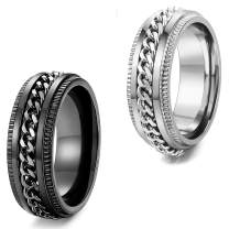 Jstyle 2Pcs Stainless Steel Fidget Rings for Mens Women Cool Spinner Anxiety Rings Wedding Pormise Band Ring Set