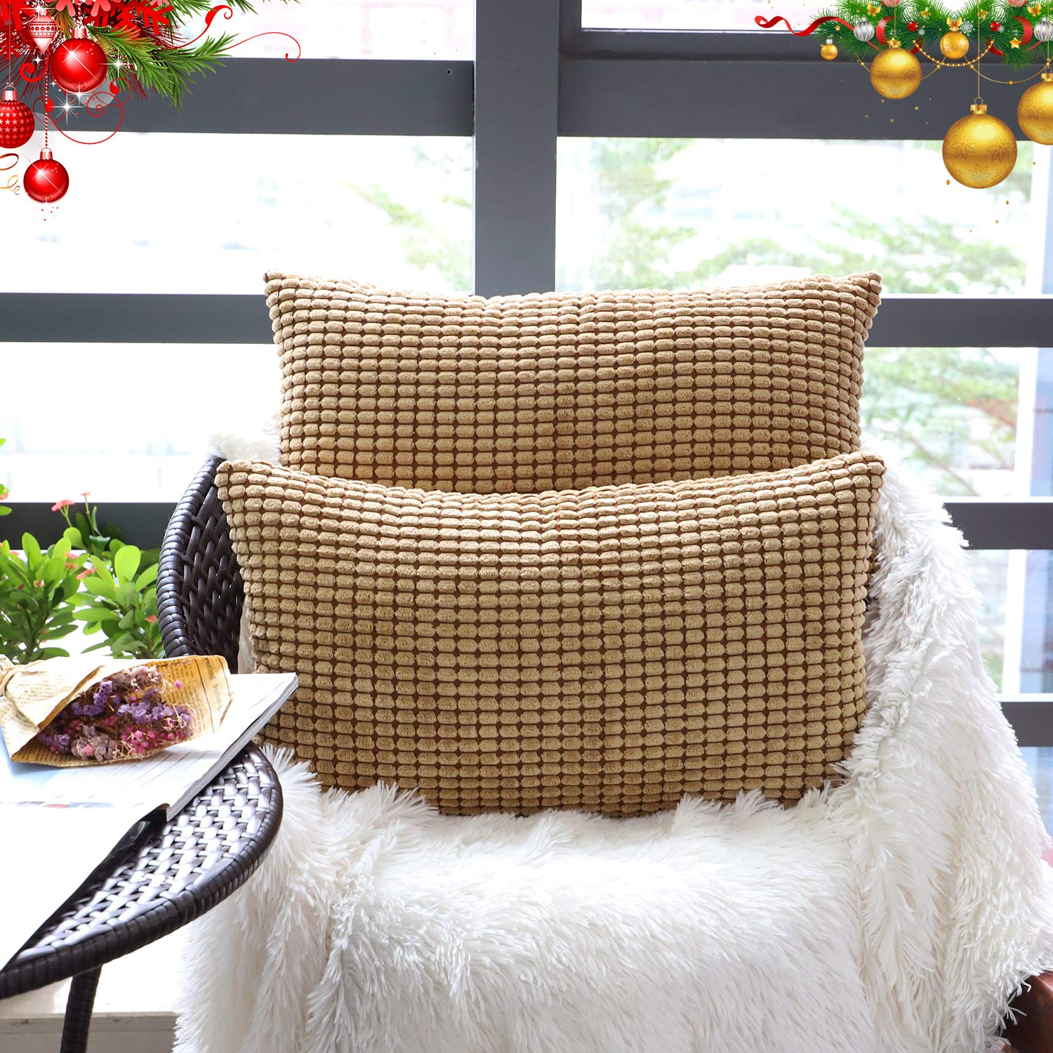 """Set of 2,Decorative Lumbar Throw Pillow Covers 12"""" x 20""""(No Insert),Solid Cozy Corduroy Corn Stripe Pattern Bloster Pillow Case,Soft Rectangle Cushion Cover with Zipper for Couch/Sofa/Bed,Light Brown"""