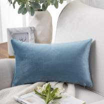 Phantoscope Velvet Decorative Throw Pillow Covers Soft Solid Square Cushion Case for Couch Blue 12 x 20 inches 30 x 50 cm