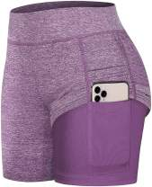 Fulbelle Women's High Waist 2 in 1 Yoga Athletic Running Shorts with Pockets