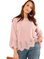 Romwe Women's Plus Size Hollow Out Scallop Hem 3/4 Sleeve Blouse Top