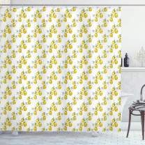 """Ambesonne Nature Shower Curtain, Lemon Tree Branches Agriculture Kitchen Lemonade Citrus Graphic Art, Cloth Fabric Bathroom Decor Set with Hooks, 75"""" Long, Green Yellow"""
