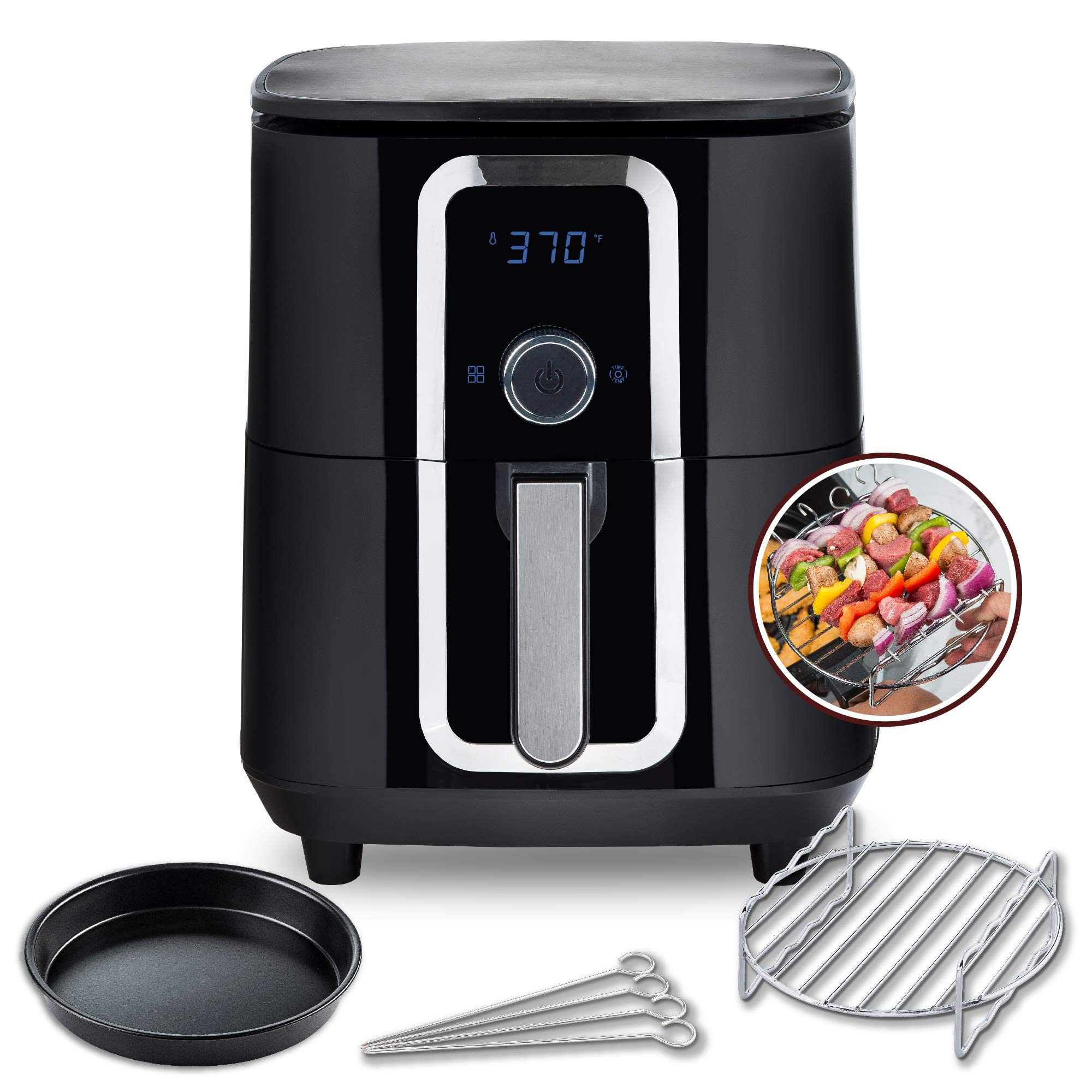 Aria 7Qt Teflon-Free Ceramic Air Fryer with All Accessories and Color Recipe Book