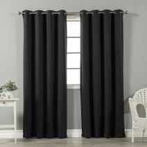 """Best Home Fashion Basic Thermal Insulated Blackout Curtains - Antique Bronze Grommet Top - Black - 52""""W x 84""""L – (1 Panel)"""