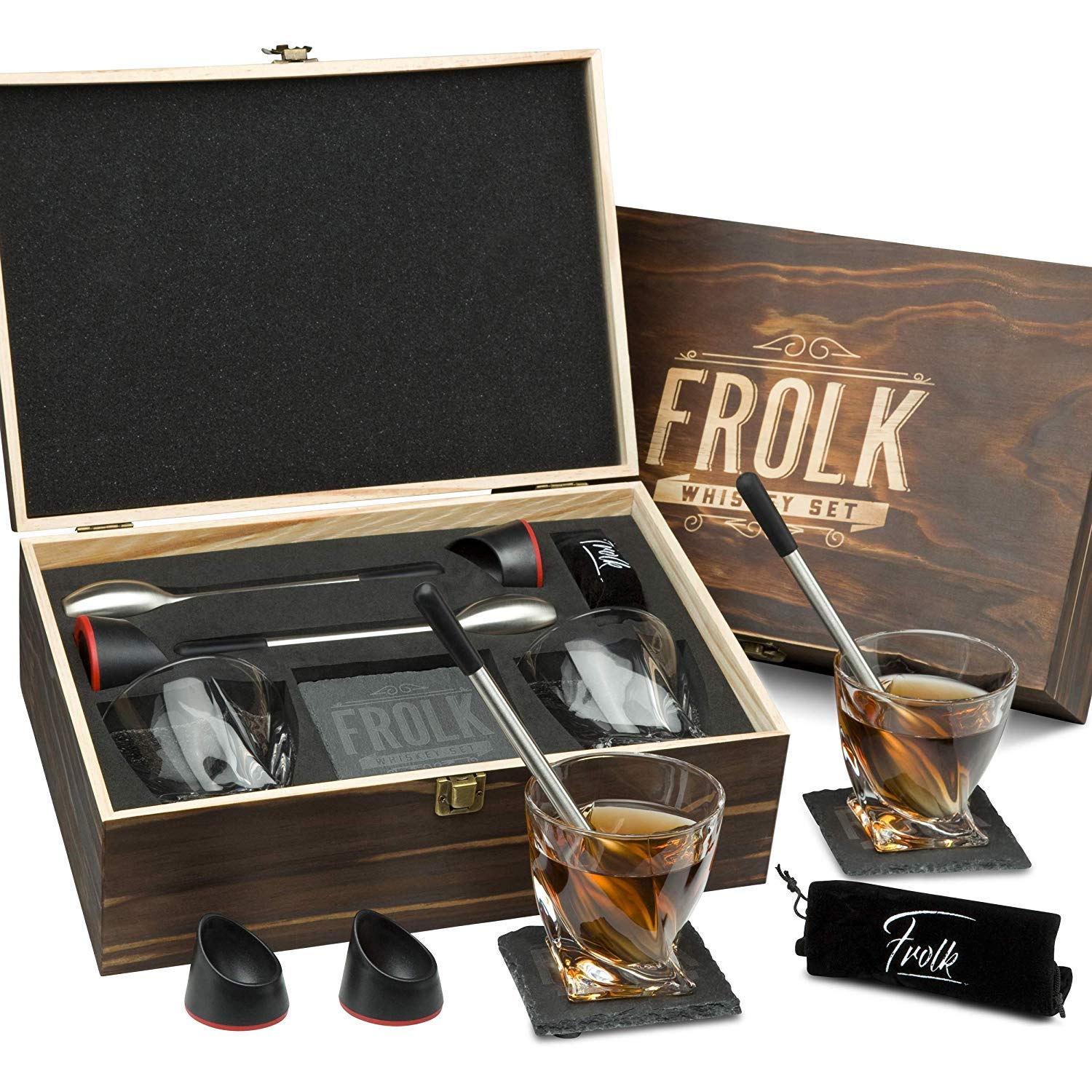 Whiskey Glasses Gift Set for Men - 2 Chilling Stainless-Steel Swizzle Sticks, 2 Bases, 2 Whiskey Glasses (11 oz), Slate Stone Coasters, Pouch, Tongs - A Luxury Set in a Real Pinewood Box