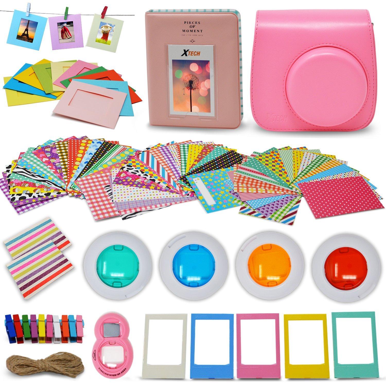 Xtech - Fuji Mini 9/8 Accessories kit Includes: Flamingo Pink Mini 9 Camera Case, 60 Mini Photo Sticker Frames, Mini 9 Photo Album, 4 Mini 9/8 Colorful Filters, Large Selfie Mirror (Flamingo Pink)