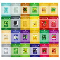 Korea Beauty Cosmetic Nature Collagen Essence Full Face Facial Mask Sheet Mask Pack, 24 Combo Pack, 23g