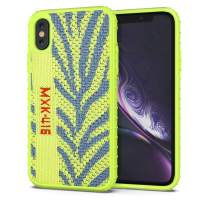 iPhone X/XS Case, CANSHN Knitted Fabric Case Protective Heavy Duty Grip Cover with Soft TPU Silicone Bumper [Tough Armor] Case for iPhone X/XS 5.8 Inch - Green