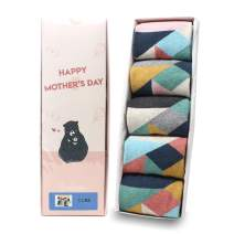 LIVEBEAR Women's 4/5/8/10 Pair Cute Large Print Funny Novelty Crew Socks Made In Korea