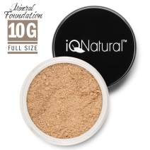 iQ Natural Mineral Foundation Loose Powder 10g Sifter Jar, Long Lasting All-Day Wear, Flawless Finish Makeup, Full Coverage – Matte | Sensitive Skin Approved | Color FAIR II