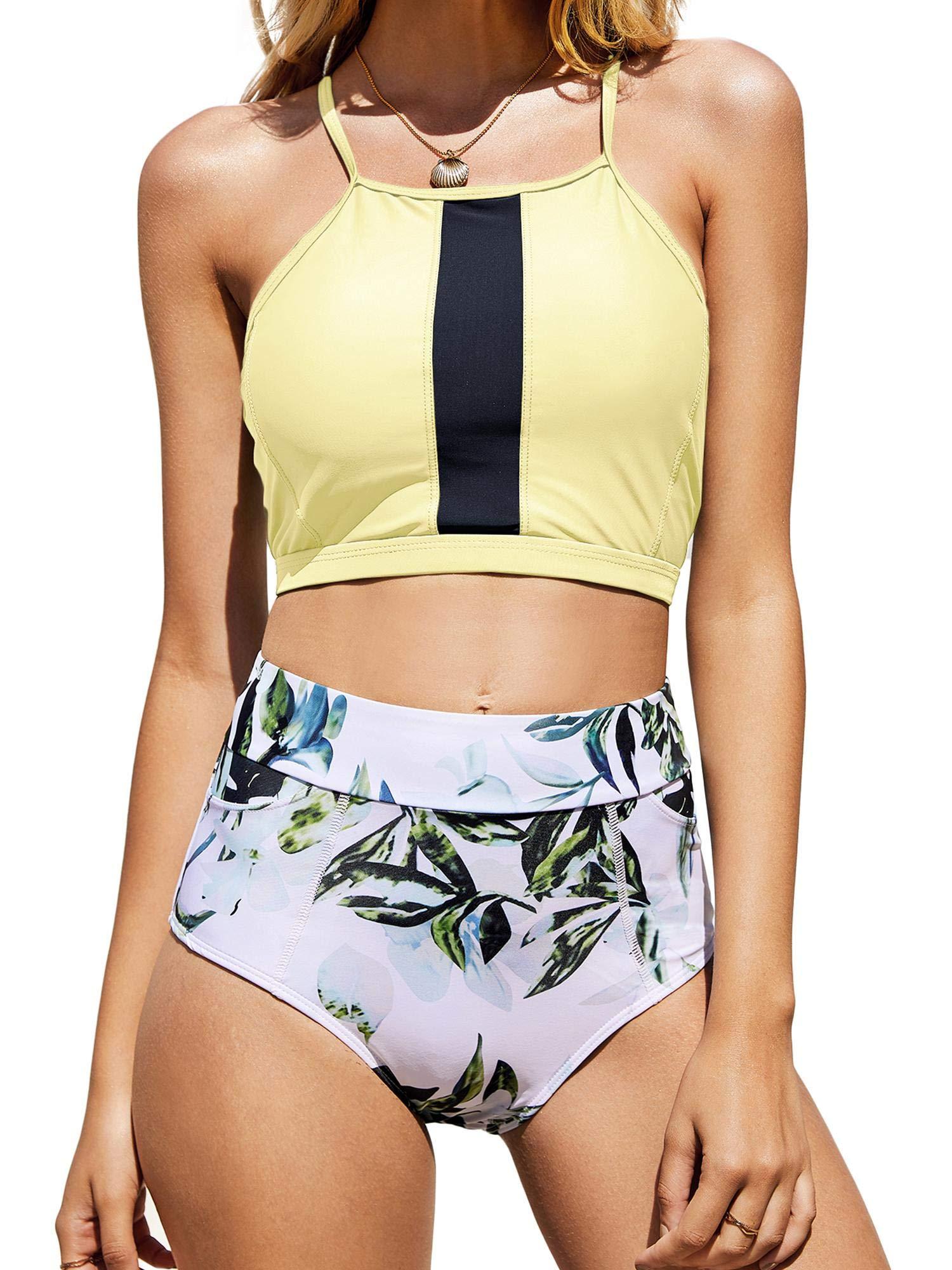 Tutorutor Womens High Waisted Swimsuits Halter Bikini Set Summer Two Piece Retro Criss Cross Leaf Print Beach Swimwear