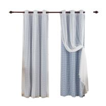 Deconovo Grommet Top Panels Azure Blue Moroccan Print Thermal Insulated Bedroom Window Blackout Two Tulle Lace Sheer Curtains for Living Room, 42x84 Inch, Beige