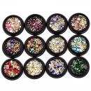 BlueZOO 12 Pack Mixed Nail Art Décor Accessories Decorations Rhinestones Diamonds Crystals Metal Studs Beads Gems for DIY Décor