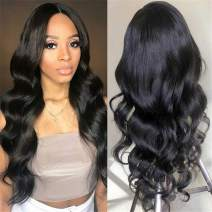360 Lace Frontal Wig Body Wave Human Hair Wigs Pre Plucked with Baby Hair Brazilian Virgin Remy Human Hair for Black Woman 180% Density Nature Color 18 inch