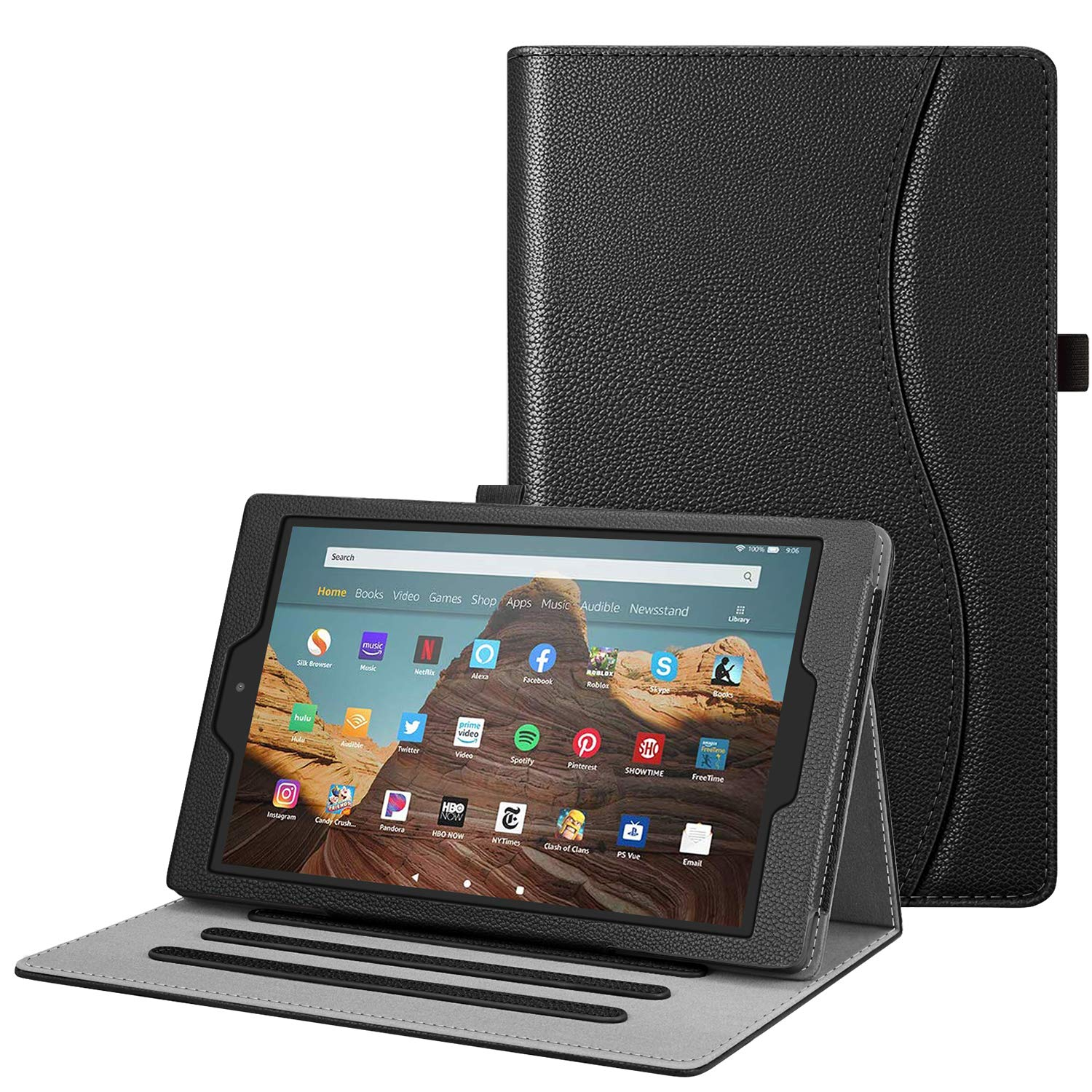 Fintie Case for All-New Amazon Fire HD 10 Tablet (Compatible with 7th and 9th Generations, 2017 and 2019 Releases) - [Multi-Angle Viewing] Folio Stand Cover with Pocket Auto Wake/Sleep, Black