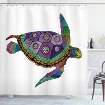"""Ambesonne Psychedelic Shower Curtain, Sea Turtle with Colorful Ornamental Style Tattoos on Animal Art Work, Cloth Fabric Bathroom Decor Set with Hooks, 75"""" Long, Purple Orange"""