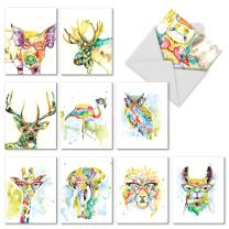 The Best Card Company - Rainbow Splash Animals - 10 Blank Cards with Envelopes (4 x 5.12 Inch) - Watercolor Wildlife Greeting Cards AM6137OCB-B1x10