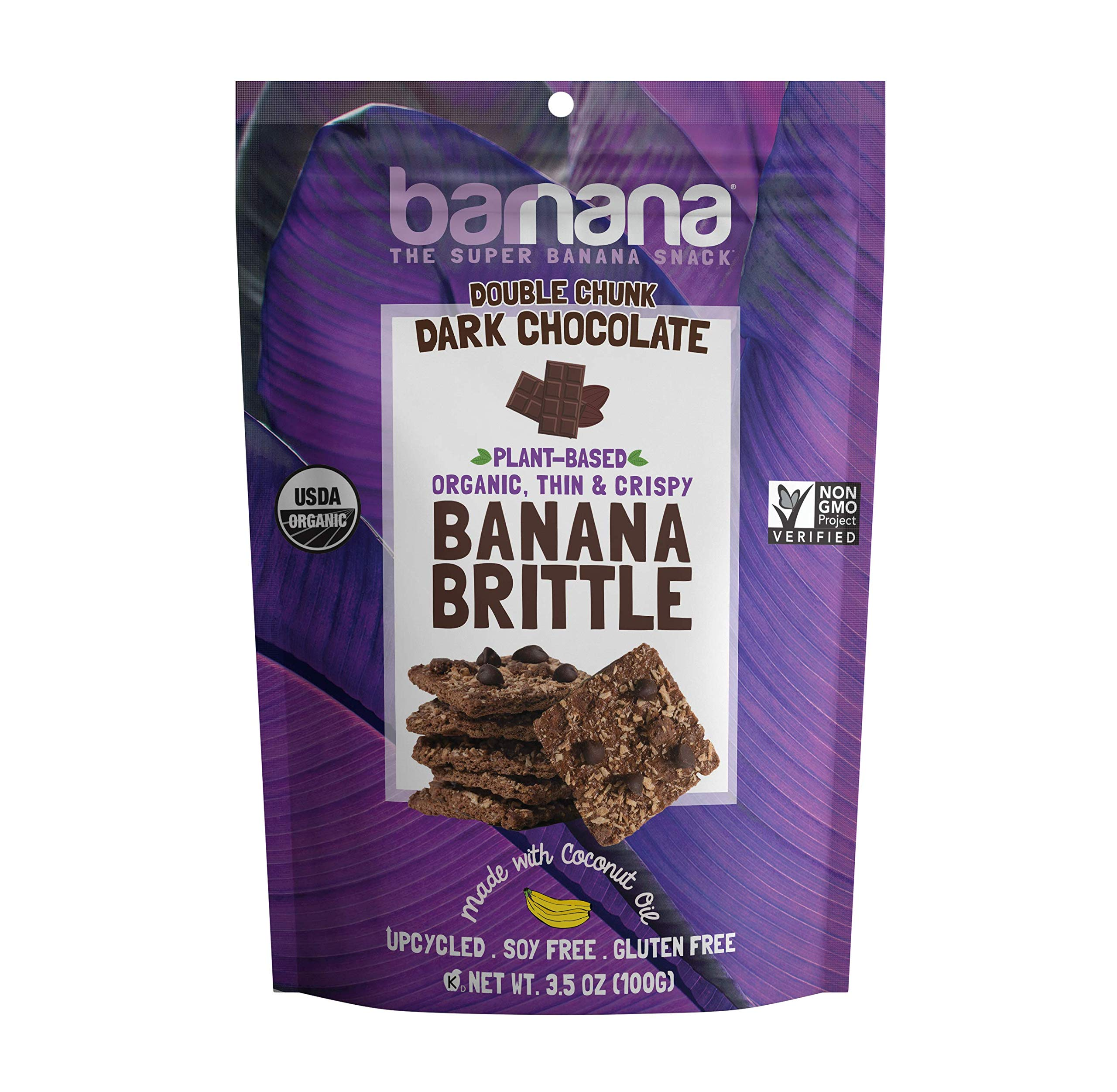 Barnana Organic Crunchy Banana Brittle - Double Chunk Dark Chocolate, 3.5 Ounce - Healthy Vegan Cookie Style Dessert Snack - Made with Sustainable, Eco Friendly Upcycled Bananas