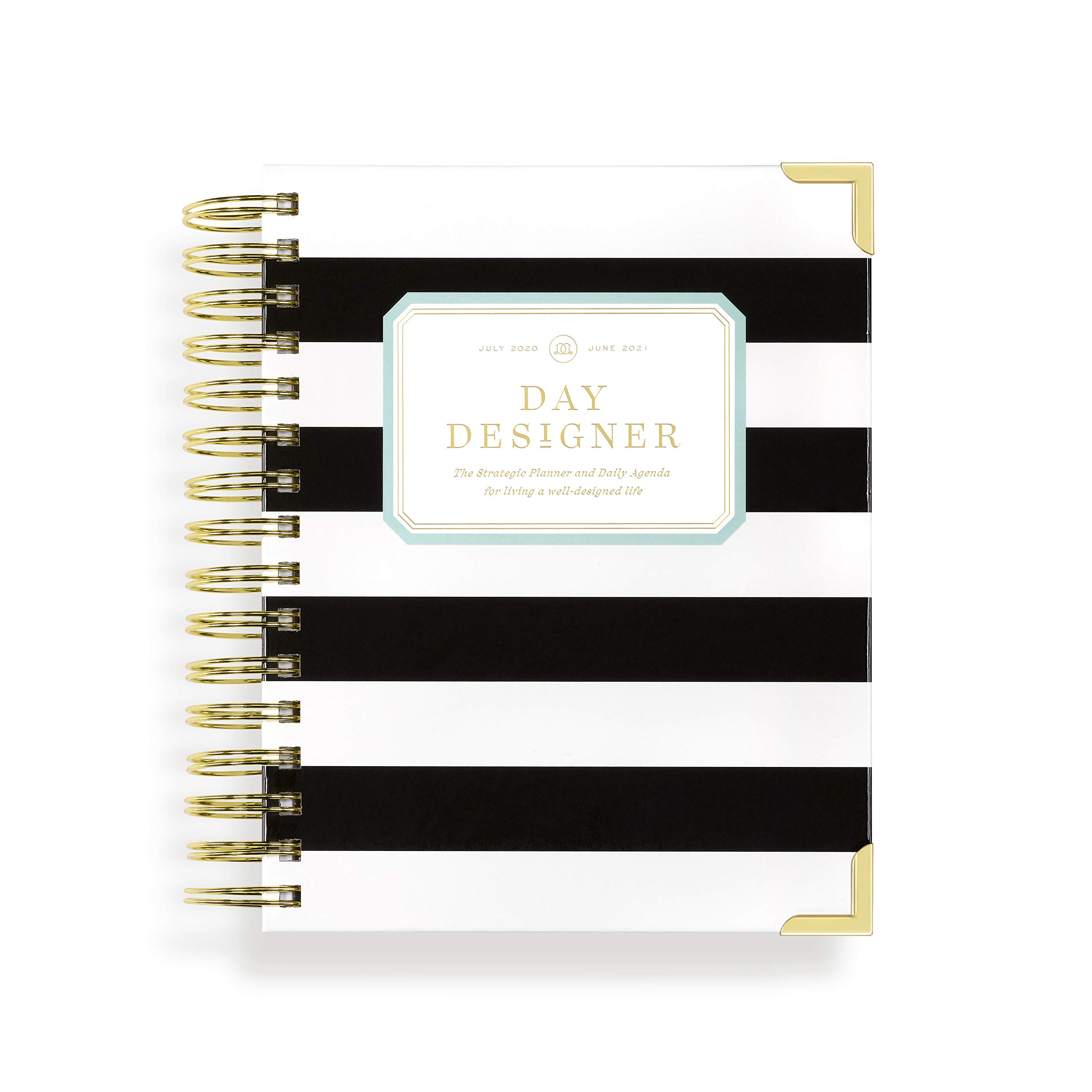 """Day Designer 2020-2021 Academic Year Mini Daily Life Planner and Agenda, Hardcover, Twin-Wire Binding, 6.625"""" x 8.3"""", Black Stripe"""