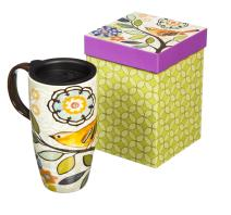 Bird and Flower Bliss Ceramic Travel Coffee Mug 17oz