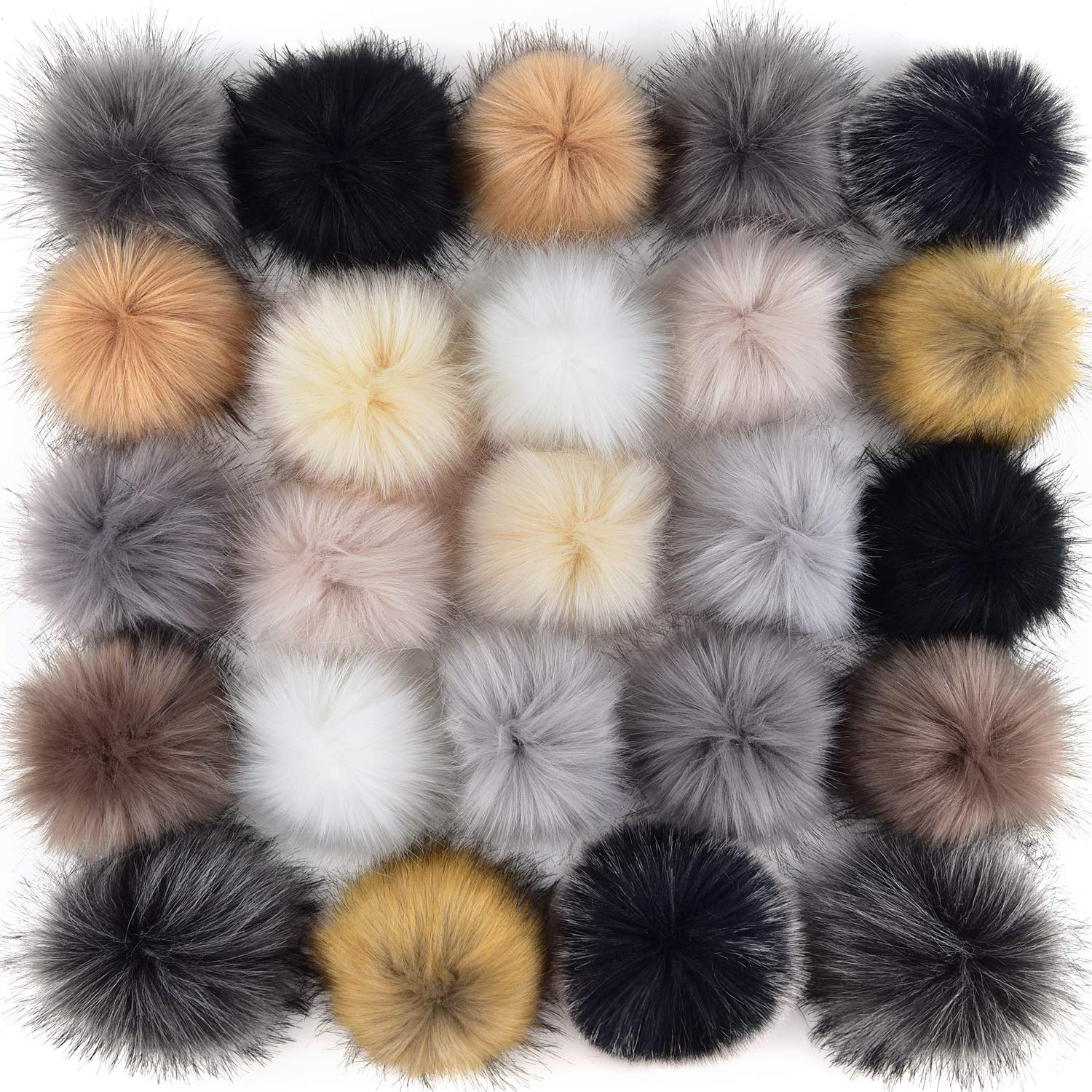 Color Set 3 30 Pieces Faux Fur Pom Pom Balls DIY Faux Fox Fur Fluffy Pom Pom with Elastic Loop for Hats Keychains Scarves Gloves Bags Accessories