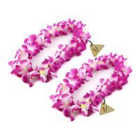 Hawaiian Ruffled Simulated Silk Flower Luau Leis Necklace for Party