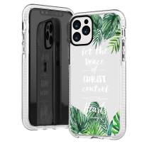 iPhone 11 Pro Max Case,Green Bahama Tropical Leaves Bible Verses Christ Inspirational Motivational Christian Quotes Colossians 3:15 Trendy Soft Protective Clear Case Compatible for iPhone 11 Pro Max