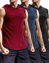 COOFANDY Men's 3 Packs Gym Tank Top Workout Hoodied Muscle Bodybuilding Training