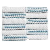 Great Bay Home 12-Piece Washcloth Set. 100% Cotton Multi-Striped Bathroom Towels. Quick Dry and Absorbent Towels. Set Includes 12 Washcloths. Milos Collection (12 Pack, Light Blue/Dark Blue)