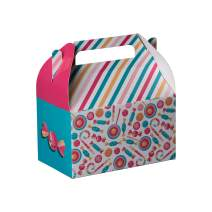 """Hammont Paper Treat Boxes - Party Favors Treat Container Cookie Boxes Cute Designs Perfect for Parties and Celebrations 6.25"""" x 3.75"""" x 3.5"""" (10 Pack) (Candy)"""