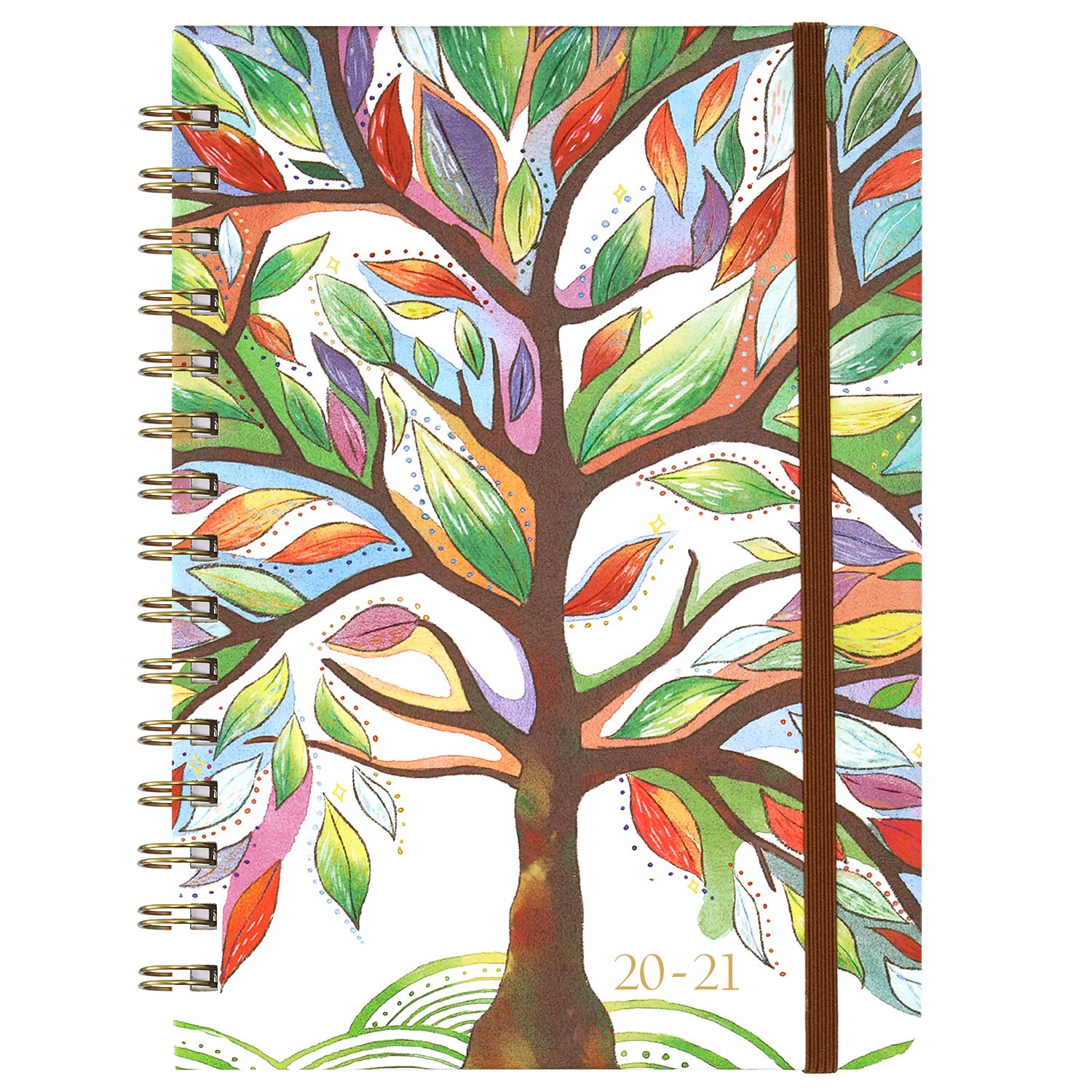 """Planner 2020-2021 - Academic Weekly & Monthly Planner with Tabs, 6.5"""" x 8.5"""", July 2020 - June 2021, Hardcover with Back Pocket + Thick Paper + Banded, Twin-Wire Binding - Watercolor Tree"""