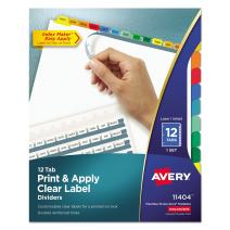 Avery 5-Tab Binder Dividers, Easy Print & Apply Clear Label Strip, Index Maker, Multicolor Tabs, 1 Set (11406)