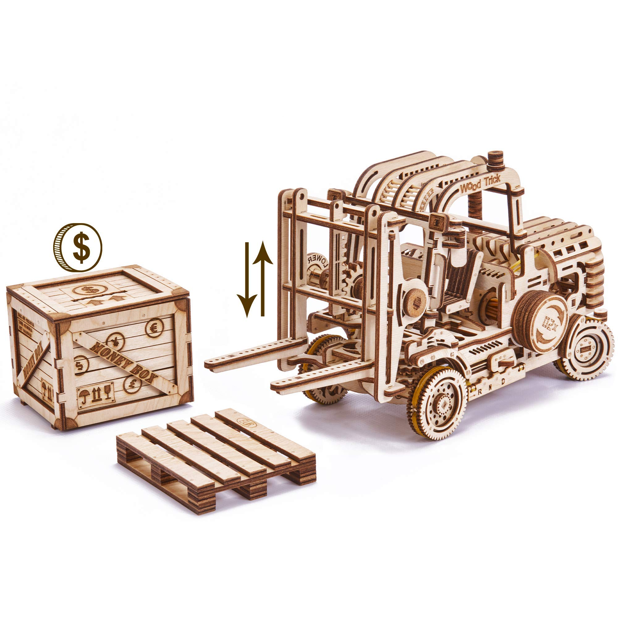 Wood Trick Forklift Toy Set + Money Box, Forklift Truck with Pallet and Cargo - Friction Powered & Manual Lifting Control - 3D Wooden Puzzle, Brain Teaser - STEM Toys